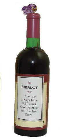 Glass Bottle of Merlot Christmas Ornament