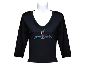 Black 3-4 Sleeve Mommys Sippy Cup  Rhinestone T Shirt