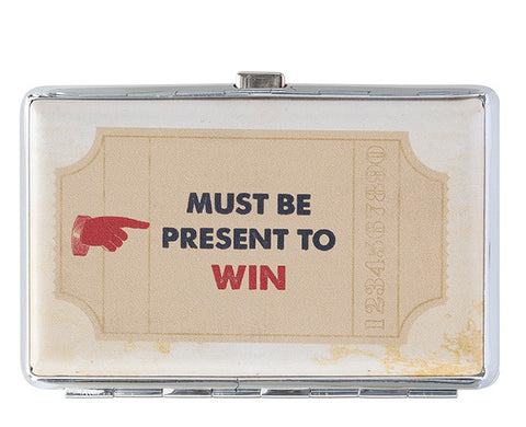 Must Be Present to Win Business Card Gift Card Holder