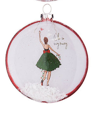 Oh So Very Merry Christmas Holiday Shopper Glitter Disc Ornament