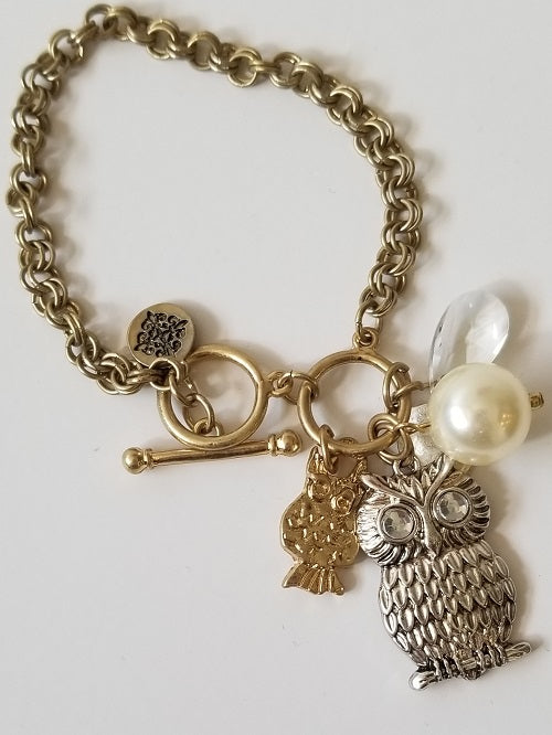 Antique Gold Silver Cluster Owl Toggle Bracelet