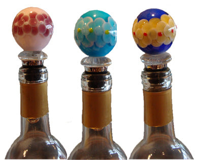 Murano Glass Ball Wine Bottle Stopper  Painted Flowers