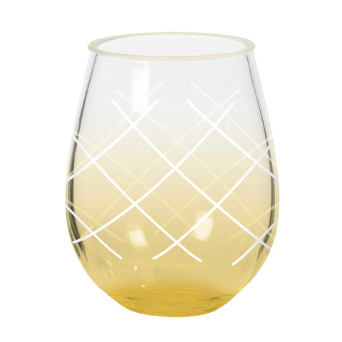 Acrylic Pineapple Style Stemless Wine Glass