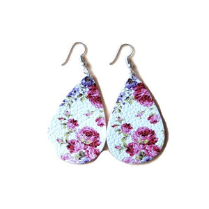 Pink Flower Teardrop Leather Bohemian Dangle Drop Earrings