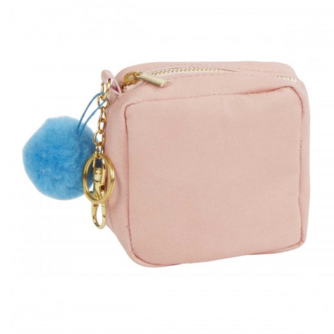 Pink Square Leatherette Change Coin Purse