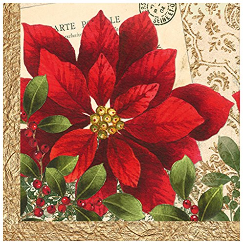 Vintage Poinsettia Christmas Beverage Cocktail Napkins
