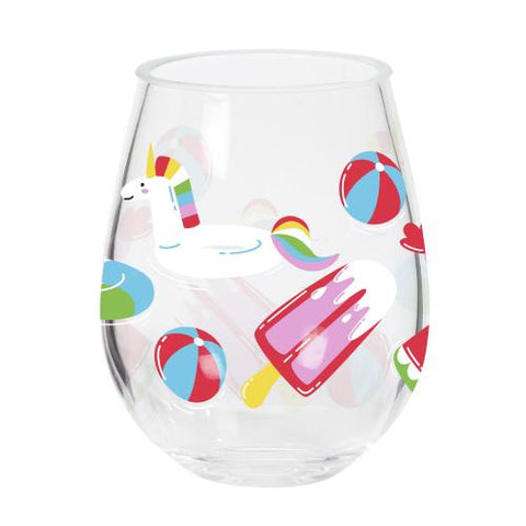 Acrylic Set of Two Stemless Summertime Wine Drink Glasses