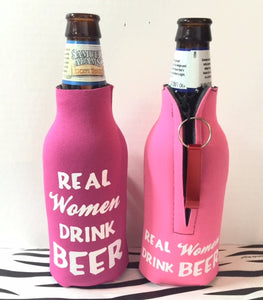 Raspberry Real Women Drink Beer Bottle Coozie