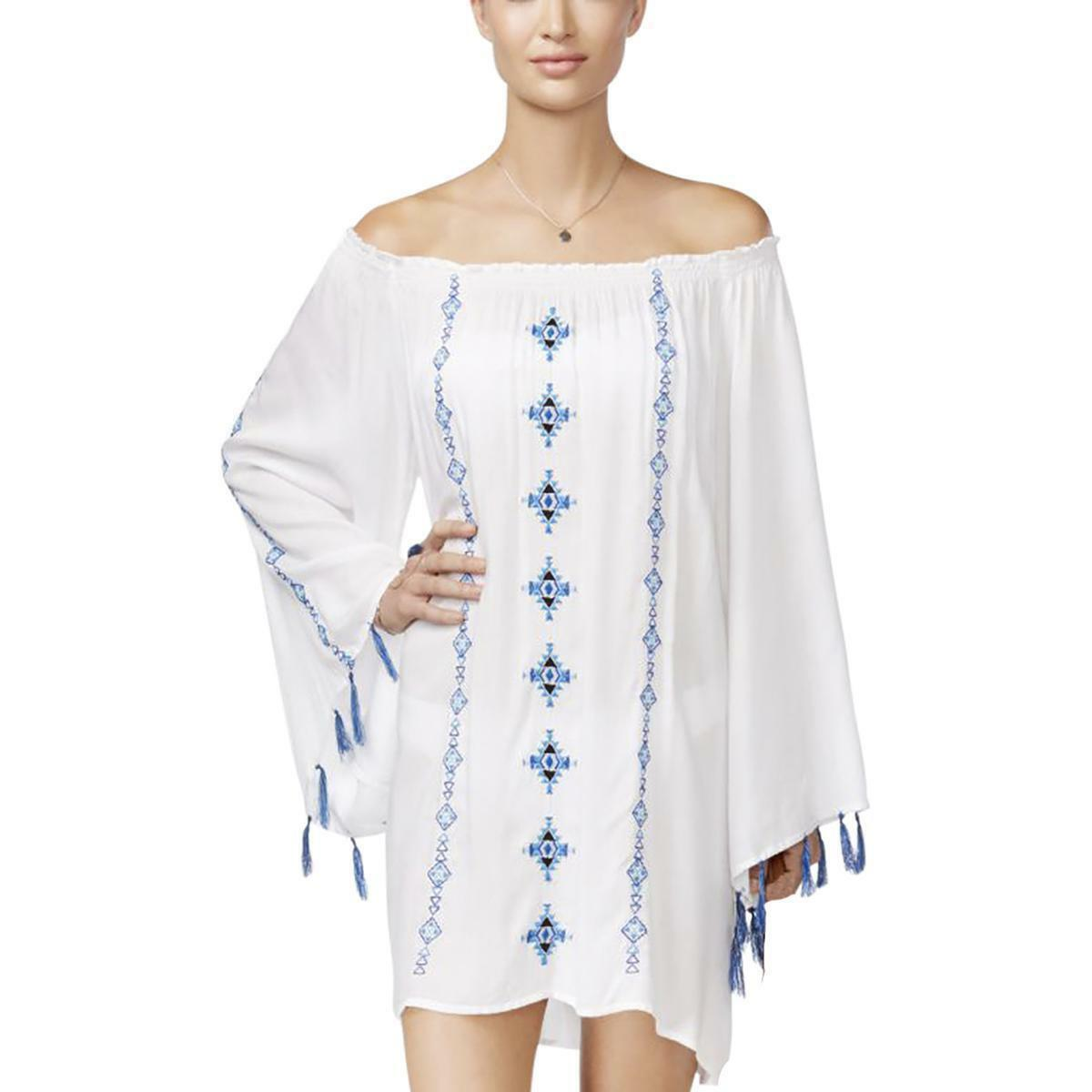 Raviya Off The Shoulder Embroidered Swimsuit Beach Cover up