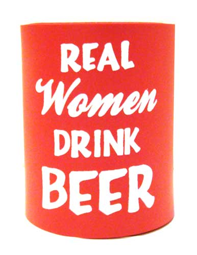 Red Real Women Drink Beer Can Cooler