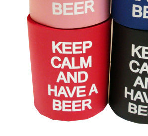 Red Keep Calm and Have a Beer Foam Can Coozie