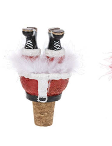 Christmas Wiggle Leg Red Glitter Santa Feathers Wine Topper Cork