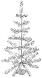 Silver Tinsel Christmas Tree with Base 36 inches