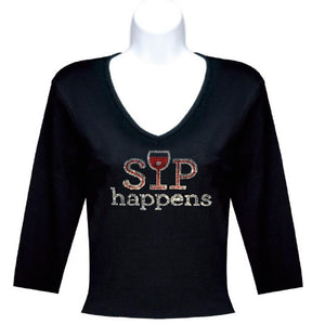 Black 3-4 Sleeves Sip Happens Rhinestone Wine T Shirt