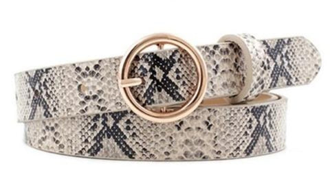 Faux Leather Snakeskin Print Patterned Ring Buckle Belt