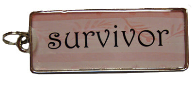 Ganz Rectangle Word Charm Pink Survivor