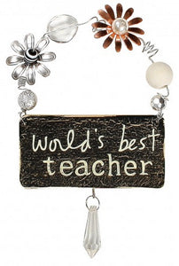 World's Best Teacher Hanging Plaque Ornament