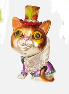 Couture Top Hat Cat Christmas Ornament