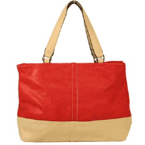 Two Tone Faux Leather Tote Bag Purse