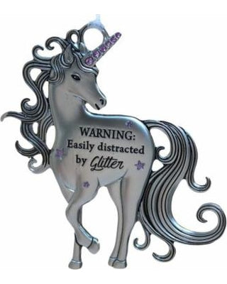 Unicorn Ornament Warning Easily Distracted