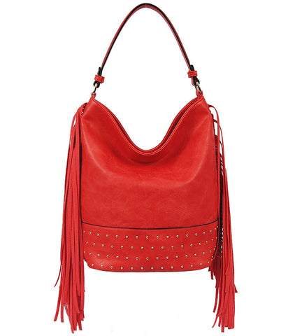 Double Tassel Studded Fringe Hobo Purse Coral