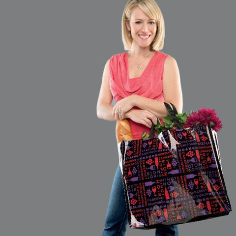 Large Vino Recycled Material Reusable Laminated Shopping Bag Tote