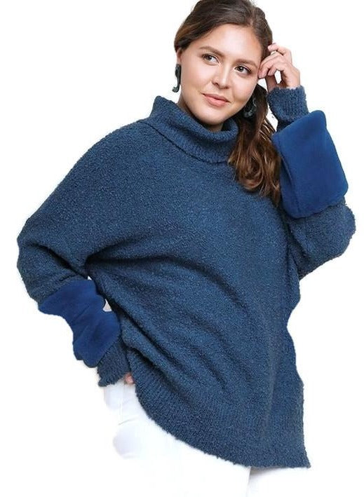 Plus Size Turtleneck Knit Pullover Long Sleeve Sweater Faux Fur Sleeve