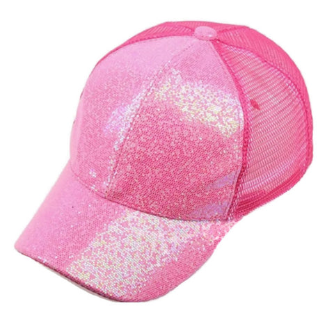 Ponytail Messy Bun Baseball Cap Adjustable Hat Glitter