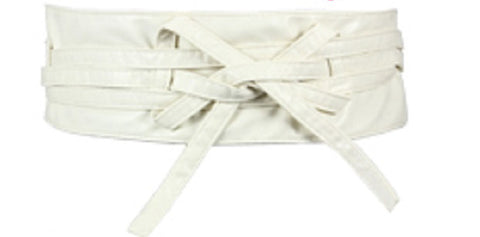 White Faux Leather Wrap Belt