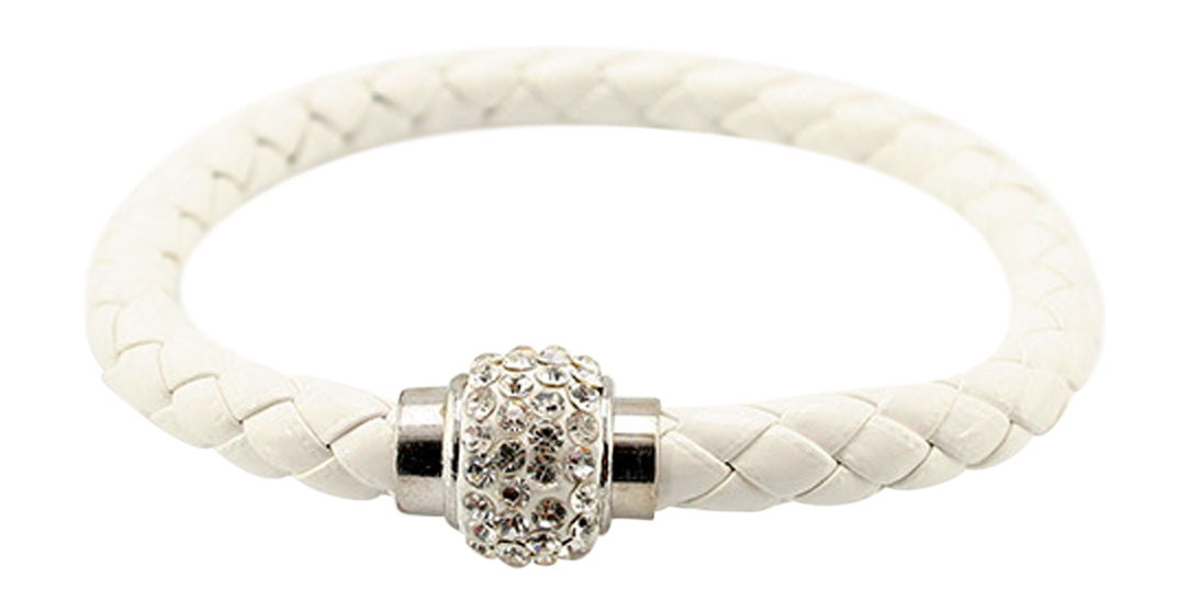 White Leather Pave Crystal Ball Magnetic Bracelet