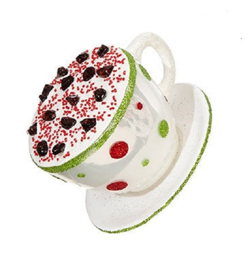 White Cappuccino Coffee Cup and Saucer Christmas Ornament
