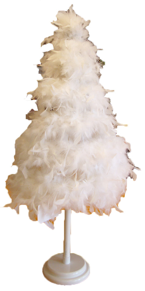 White 32 inch Lightweight Tabletop Feather Tree