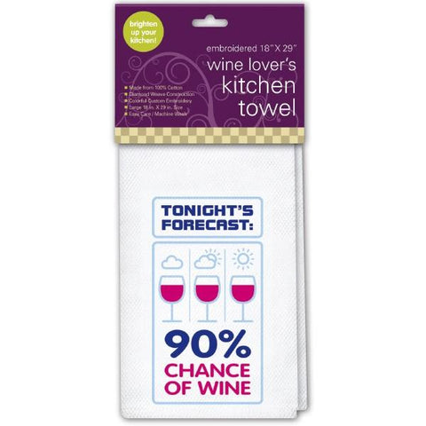 White Tonites Forecast 90% Chance of Wine Kitchen Towel