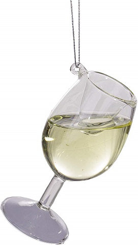 White Wine 4 inch Glass Christmas Ornament