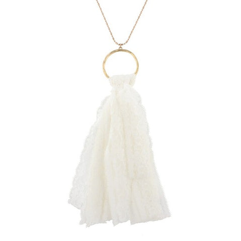 Worn Gold Chain White Lace Tassel Necklace