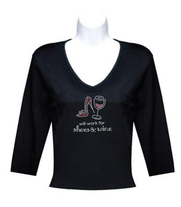 Black 3-4 Sleeve Will Work for Shoes and Wine T Shirt