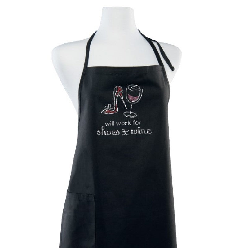 Will Work For Wine & Shoes Black Kitchen Hostess Apron