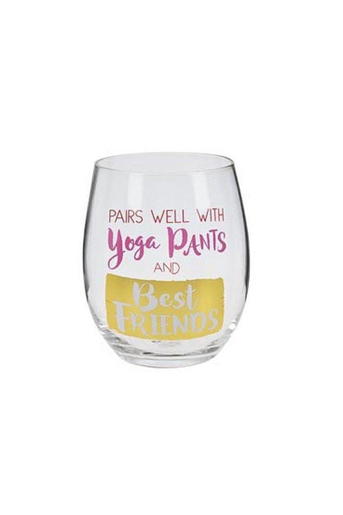 Pairs Well with Yoga Pants Stemless Wine Glass
