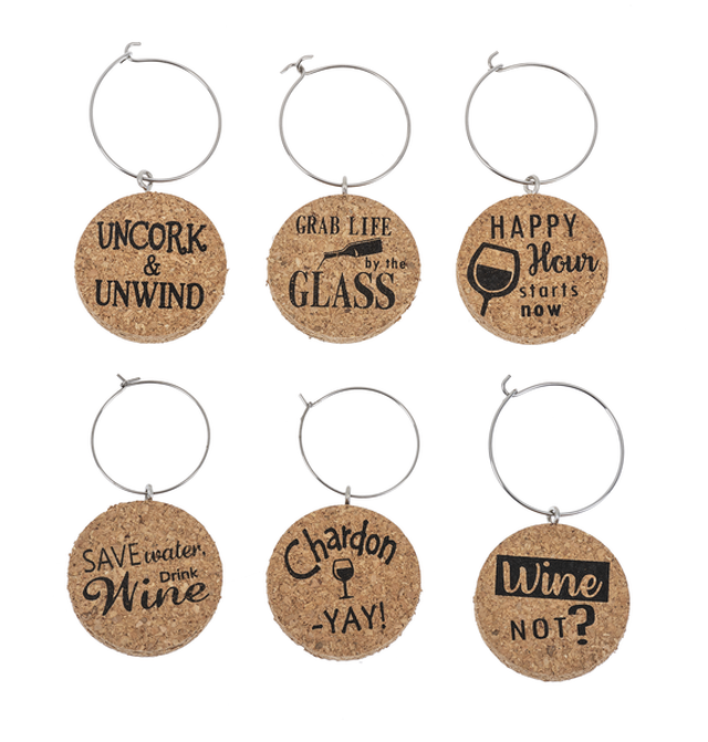 Set of Cork Wine Glass Charms