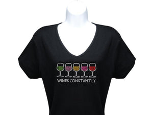 Black Wines Constantly Rhinestone Short Sleeve T Shirt
