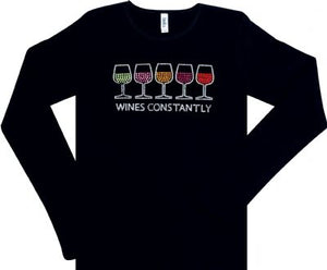 Black 3-4 Sleeve Rhinestone Wine T Shirt Sleeve Wines Constantly