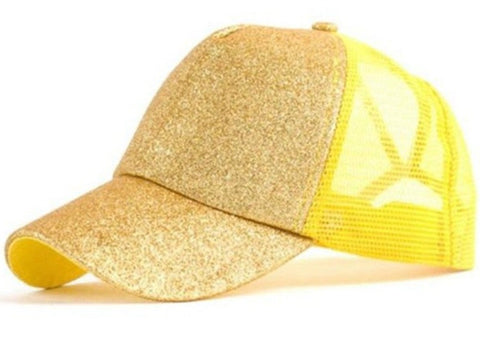 Yellow Ponytail Messy Bun Baseball Cap Adjustable Hat