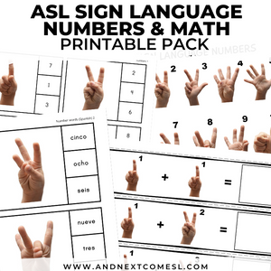 ASL Sign Language Numbers & Math Pack
