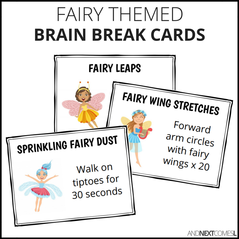 Fairy Themed Brain Break Cards