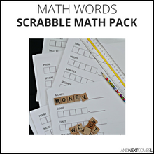 Load image into Gallery viewer, Math, Money, Time, & Shapes Scrabble Math Pack