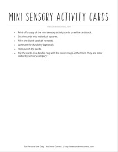 Mini Sensory Diet Activity Cards