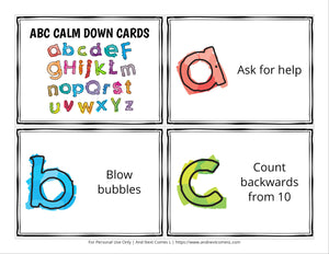 ABC Calm Down Cards