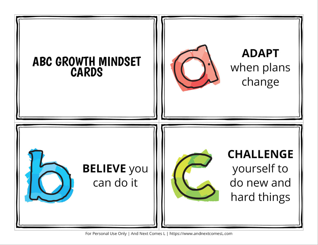 ABC Growth Mindset Cards