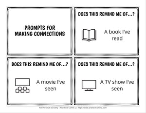 Making Connections Comprehension Prompt Cards
