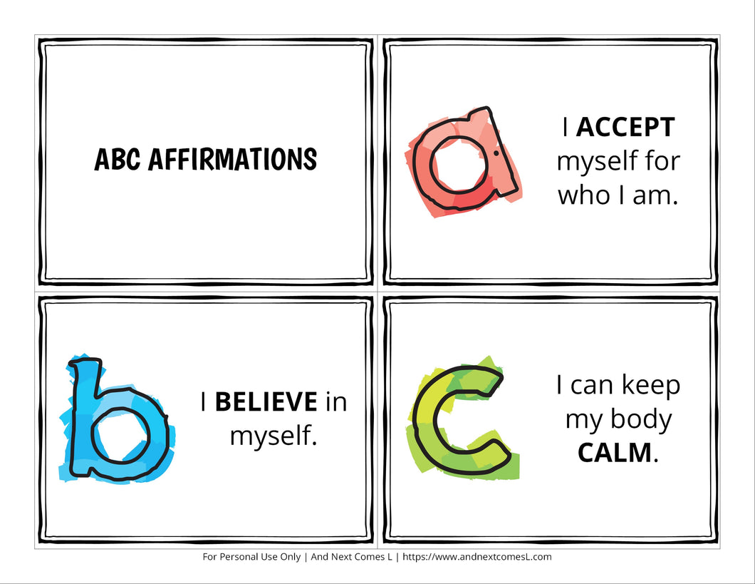 ABC Affirmation Cards